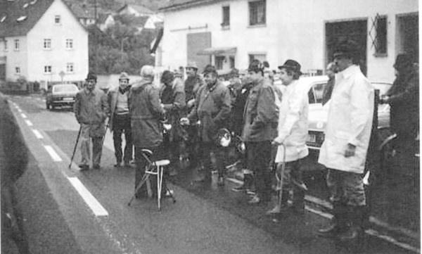 Sammeln zur Treibjagt 1979 in Steinbach